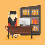 Stressed employee working in office. Stock Images