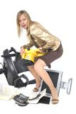 Stressed executive businesswoman breaking her offi Royalty Free Stock Images