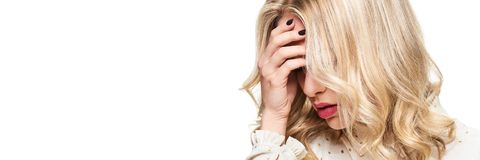 Stressed Exhausted Young Female Having Headache. Feeling Pressure And Stress banner. Depressed Woman With Head in Hands. Stressed Exhausted Young Female Having royalty free stock photos