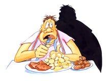 Stressed fat man eating stock illustration
