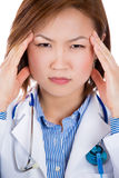 Stressed female doctor Stock Photos