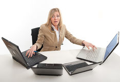 Stressed female executive Stock Photo