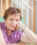 Stressed female pensioner Royalty Free Stock Photo