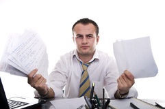 Stressed & frustrated businessman. Stressed & frustrated businessman isolated on a white background Stock Photography