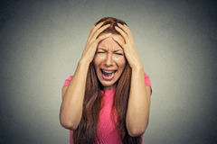 Stressed frustrated woman yelling screaming Royalty Free Stock Photo
