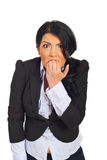 Stressed and furious business woman Royalty Free Stock Photography