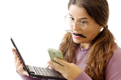 STRESSED girl with tablet and smart phone Royalty Free Stock Photo