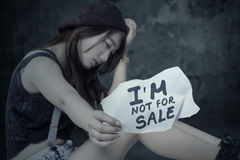Stressed Girl Victim Of Human Trafficking Royalty Free Stock Photos