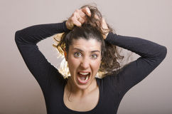 Stressed with hairstyle Stock Image
