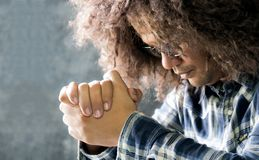 Stressed people pray in the light to bless from God.