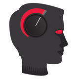 Stressed head. Dial turned to maximum on male profile Stock Photo