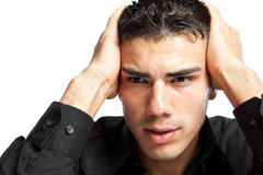 Stressed hispanic businessman Stock Images