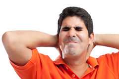 Stressed hispanic man isolated on white Stock Image