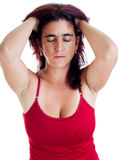 Stressed hispanic woman with a headache Stock Photography