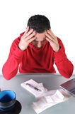 Stressed II. A isolated shot of a young man who is stressed Royalty Free Stock Images