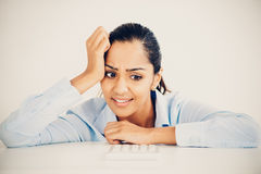 Stressed Indian business woman headache depressed Stock Photo