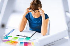 Stressed interior designer Stock Images