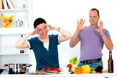 Stressed in the kitchen Royalty Free Stock Photography