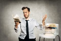 Stressed male student Royalty Free Stock Photo
