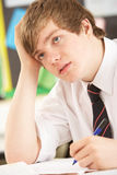 Stressed Male Teenage Student Studying royalty free stock photos