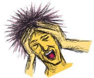 Stressed man. Illustration with a stressed man holding his hands through his hair Stock Image