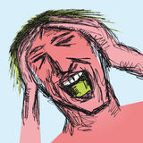 Stressed man. Illustration with a stressed man holding his hands through his hair Royalty Free Stock Photography