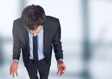 Stressed man against blurred background Royalty Free Stock Image