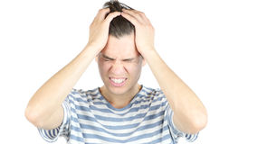 Stressed man Annoyed by work, White Background Royalty Free Stock Image