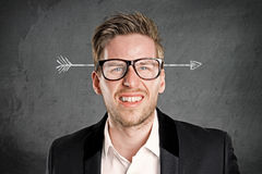 Stressed man. With arrow in the head Royalty Free Stock Photos
