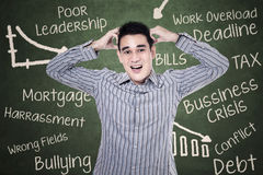 Stressed man at classroom Royalty Free Stock Photography