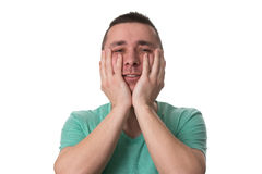Stressed Man Covers His Face With Hands Stock Photography