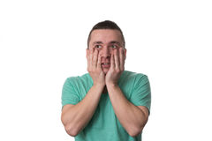 Stressed Man Covers His Face With Hands Stock Images
