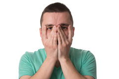 Stressed Man Covers His Face With Hands Royalty Free Stock Images