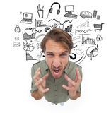Stressed man gesturing and yelling Stock Photo