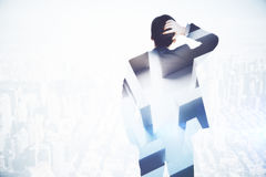 Stressed man with maze. Back view of stressed businessman on light city background with maze. Challenge concept. Double exposure vector illustration