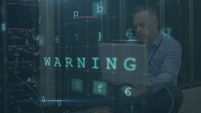 Stressed man meditating in computer server room with moving data security messages. Animation of concerned Caucasian man sitting using a laptop computer in a stock footage
