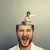 Stressed man with screaming woman Royalty Free Stock Photo