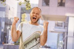 Stressed man shouting outdoors Stock Photos