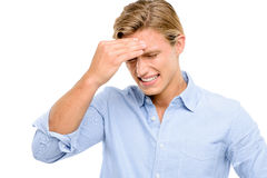 Stressed man suffering from headache isolated on white backgroun Stock Photos