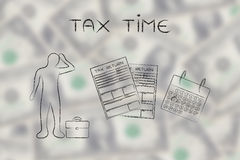 Stressed man and tax forms, caption tax time Stock Photos