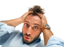Stressed man tear his hair out Royalty Free Stock Photo