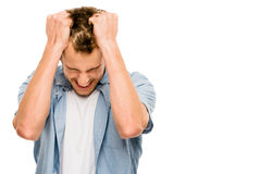 Stressed man upset frastrated white background Royalty Free Stock Photos