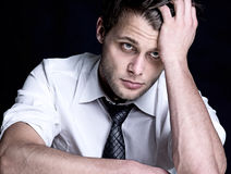 Stressed. Man wíth a burnaout Stock Images