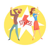 Stressed man and woman. Colorful cartoon character Royalty Free Stock Image