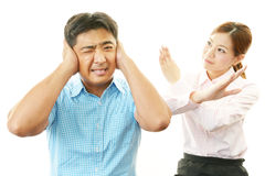 Stressed man and woman Royalty Free Stock Image