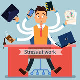 Stressed Man at Work with Many Hands Stock Image
