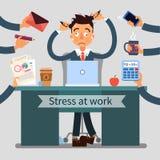 Stressed Man at Work Pulls His Hair Royalty Free Stock Image