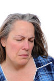 Stressed middle aged woman royalty free stock images