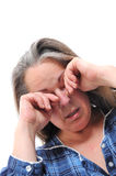 Stressed middle aged woman royalty free stock photos