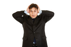 Stressed modern businessman with hands near head Royalty Free Stock Photography